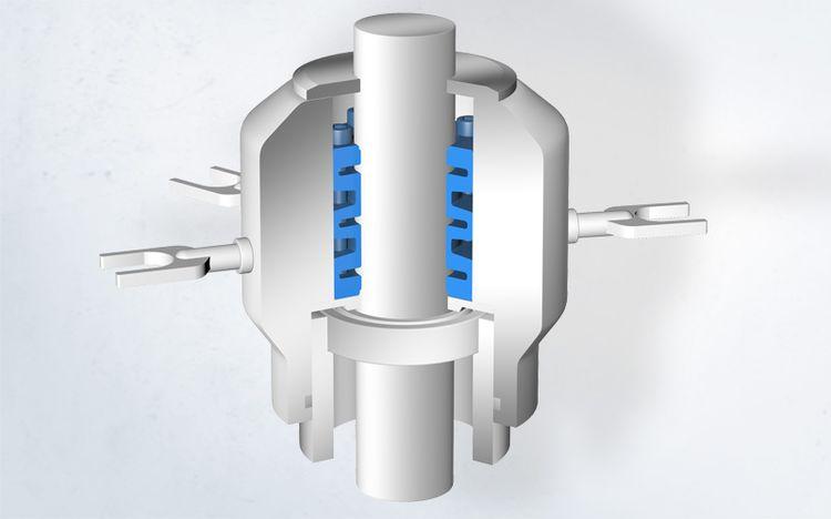 Edelstahl-Spannsätze von Spieth sorgen für die präzise Positionierung von Transportsternen einer Abfüllanlage.