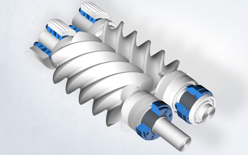 Hochleistungs-Rotoren in Schraubenkompressoren mit Präzisions-Stellmutter zur Spieleinstellung